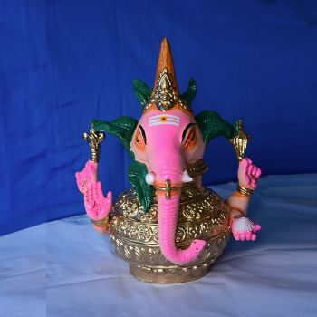 Lord Ganesha on kalasam/kumbham - colored clay doll