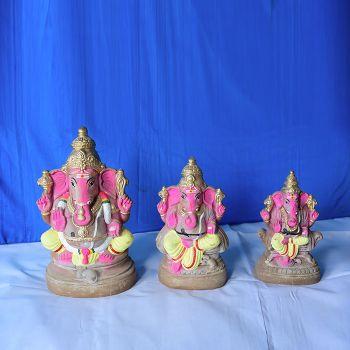 Dharbar Ganesh Murti handcrafted clay doll - Big