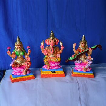Lord Ganesha with Godesses Lakshmi and Saraswathi - Small