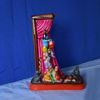 Butter stealing Bala Krishna clay doll set - Small