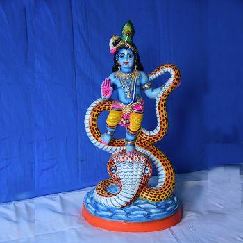 Kalinga Narthana Krishna - colored clay doll - Small